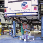 Bus lifted by SEFAC mobile columns