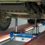 Vehicle jack in use