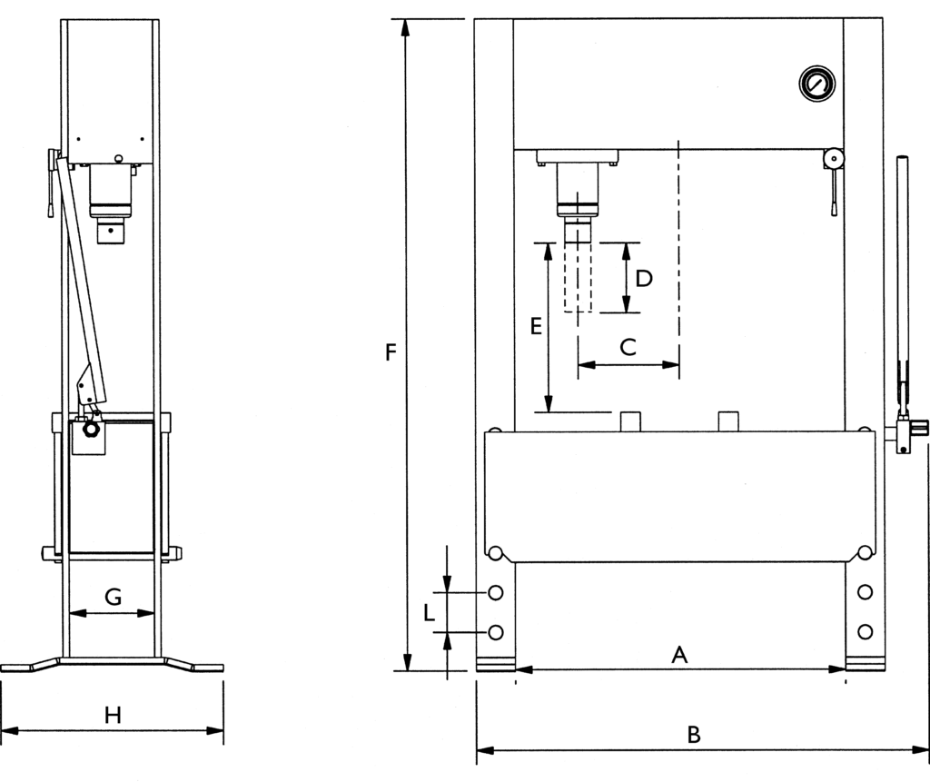 Drawing hydraulic workshop press